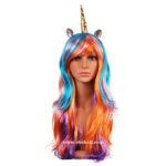 Rainbow Unicorn Adult Wig Costume
