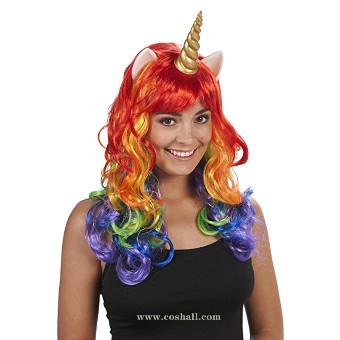 Rainbow Unicorn Adult Wig Costume