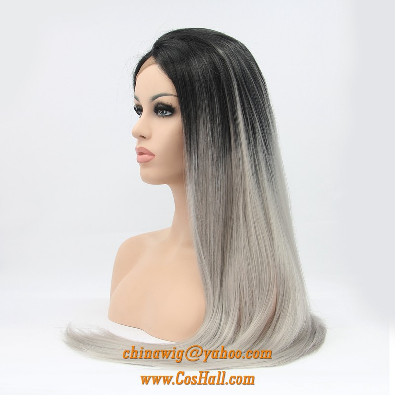 Lace Front Wigs For Women Long Straight Hairs Black Root To Gray