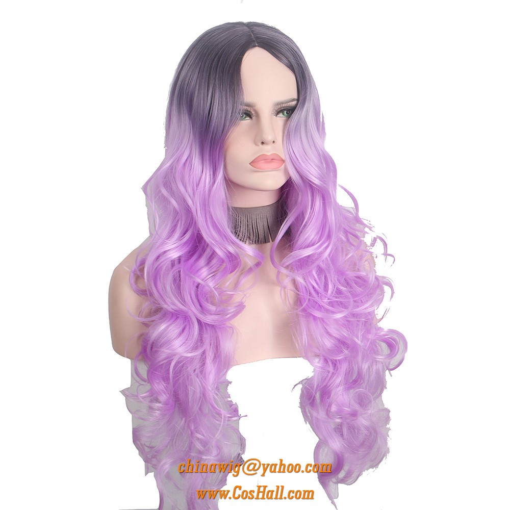 Long Wavy Curly Wigs for women with no bangs Purple Colorful ombre ... 305b732924a4