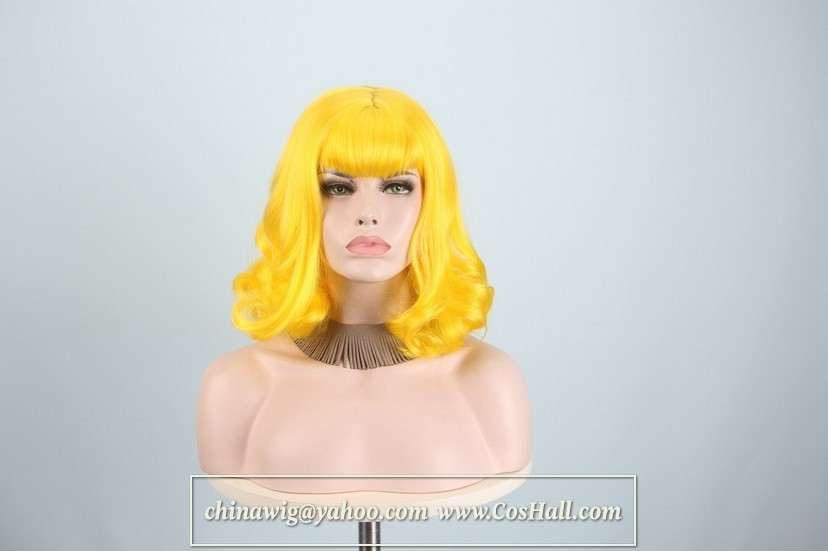 Yellow Wigs for Women,synthetic wigs,artificial